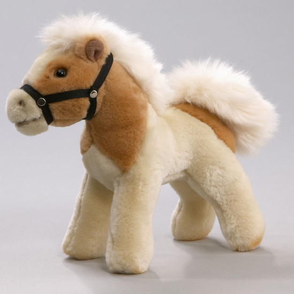 Pferd mit Stimme beige-weiß gefleckt