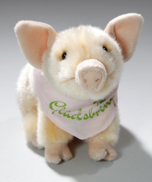 Schwein sitzend mit Halstuch Glücksbringer