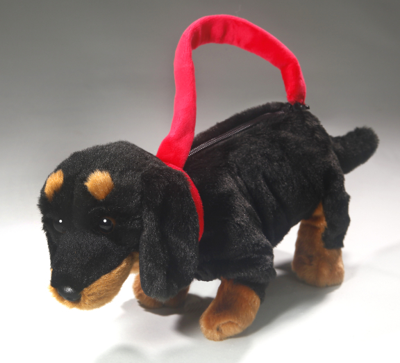 Dachshund Dog standing black as purse or hand bag