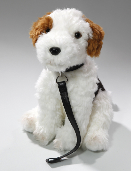 Fox Terrier sitting with lead