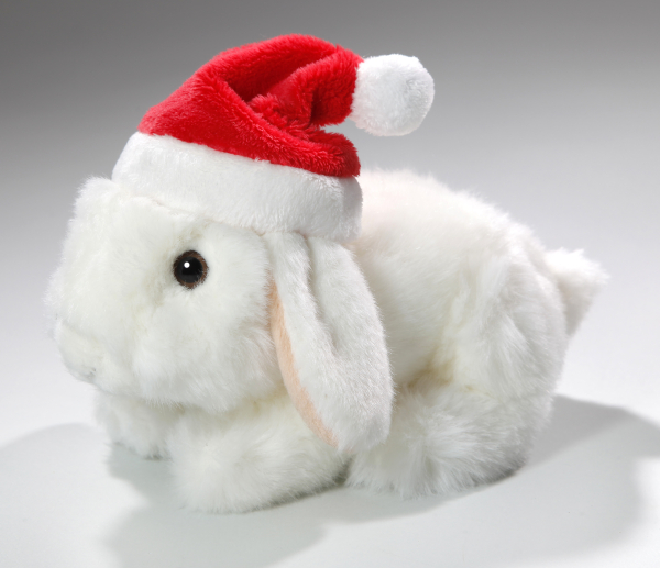 Rabbit Bunny with Christmas cap sitting white